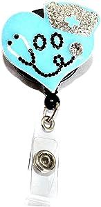 1 Pcs Blue Heart Nurse Retractable Badge Holder Reel Clip, Nurse Gifts for Women, Nurse Badge Reels, Perfect Nurse Graduation Gift, Id Name Tag Cute Funny Nursing Badges Alligator Clips for Nurses