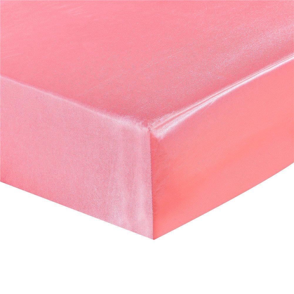 elegantstunning Emulation Silk Mattress Cover Beddings Supplies Pink 19820330(7880)(0.6KG)