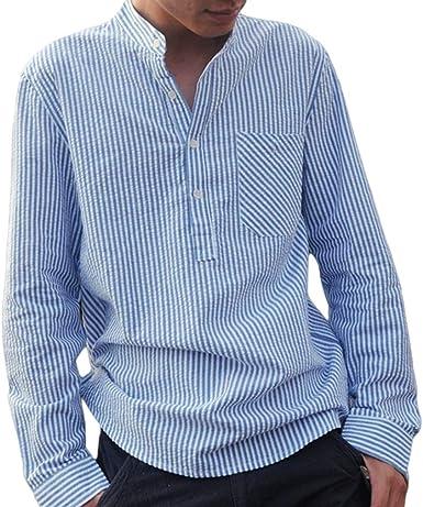 Hombres Camisa de Manga Larga Casual Blusas de Trabajo Moda Loose Fit Camisas a Rayas Hombre Primavera y Otoño Shirts Tops Tamaño S-5XL: Amazon.es: Ropa y accesorios