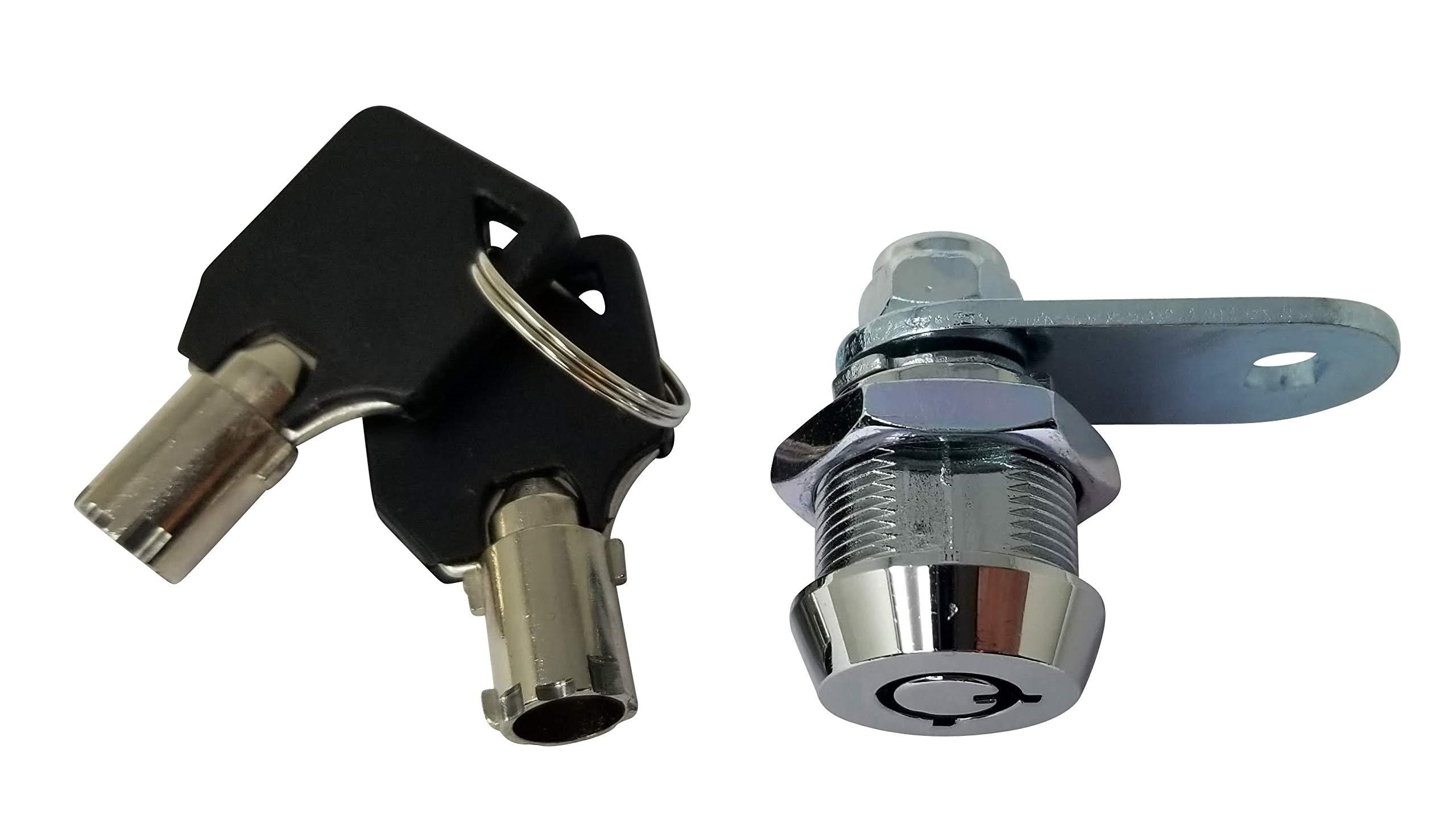 Tubular Cam Lock with Chrome Finish, Keyed Alike Removable Key (5/8'', Pack of 5) by Products Quad (Image #4)