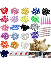 100 PCS Soft Pet Cat Nail Caps VICTHY Cats Paws Grooming Nail Claws Caps Covers 5 Kinds 5Pcs Adhesive Glue Medium Size