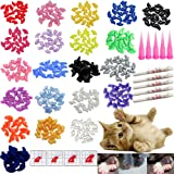 VICTHY 100 PCS Soft Pet Cat Nail Caps Cats Paws Grooming Nail Claws Caps Covers of 5 Kinds 5Pcs Adhesive Glue Medium Size