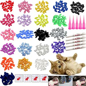 VICTHY 100 PCS Soft Pet Cat Nail Caps Cats Paws Grooming Nail Claws Caps Covers of 5 Kinds 5Pcs Adhesive Glue Kitten Size