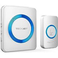 TECKNET Wireless Doorbell, Waterproof Wall Plug-in Cordless Door Chime Kit With 300m Range, 52 Chimes, 4-Level Volume & Blue Light, No Batteries Required Best for Plug in Door Entry Bell