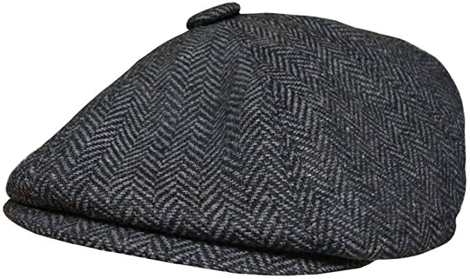9181b9bf4e Mens Herringbone Baker Boy Cap Peaked Newsboy Hat Gatsby Flat Cap Button  Top Hat