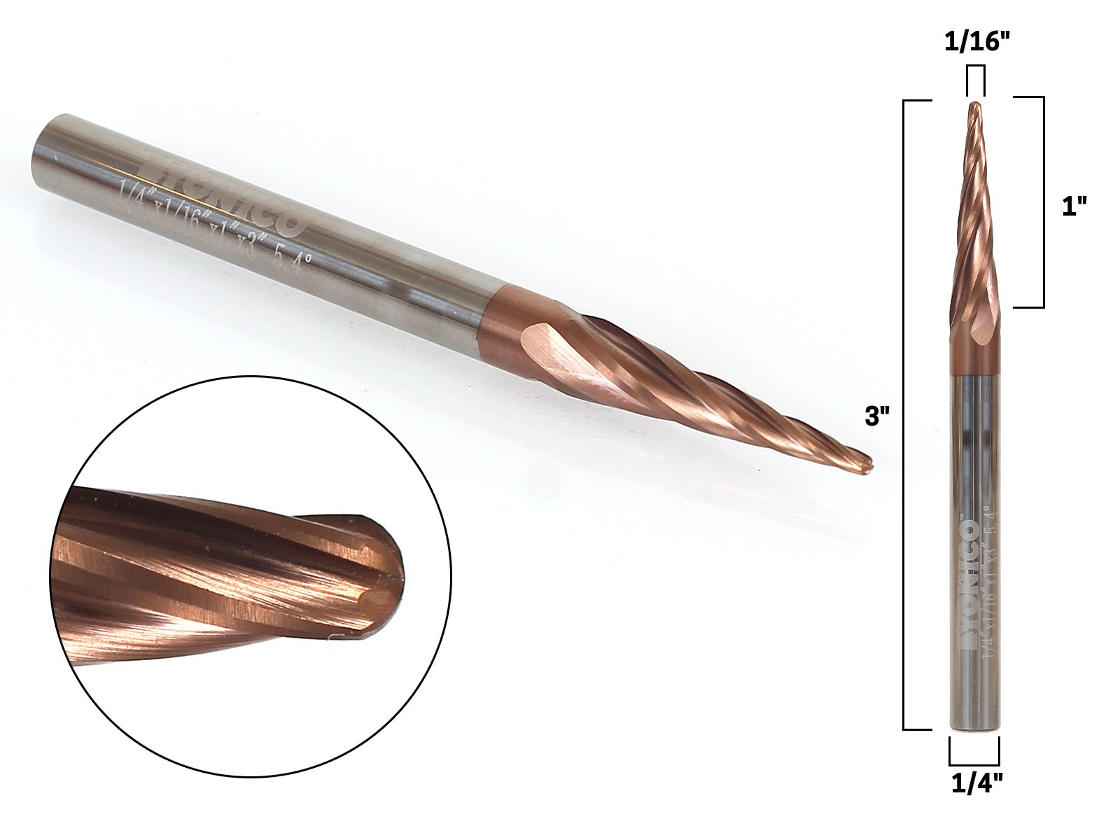 Yonico 37412-SC 1/16'' 4 Flute Taper Spiral ZRN Coated CNC Router Bit with 1/4'' Shank