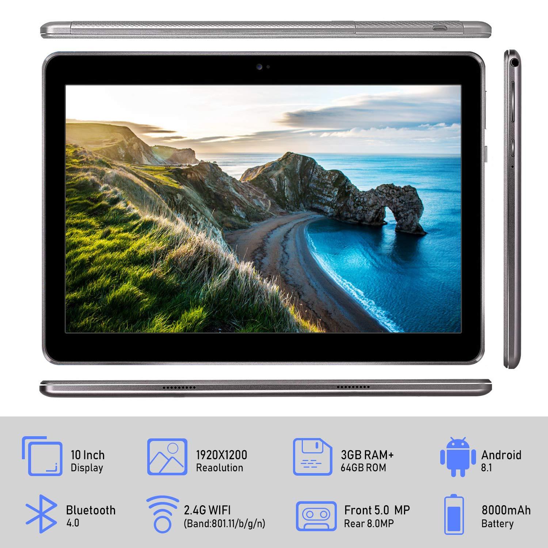 Tablet 10 Pulgadas 4G IPS/HD, 3GB de RAM 64GB de ROM, Dual SIM Dual Cámara Batería de 8500mAh, Android 8.1 Tablet PC Procesador de Quad Core ...