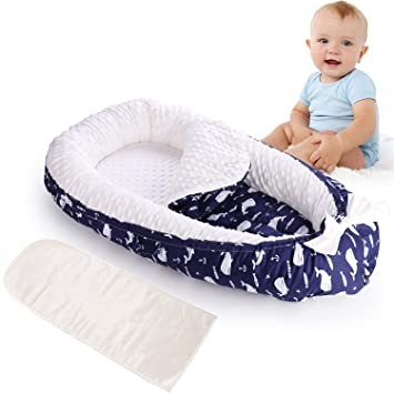 HONGTEYA Baby Lounger Baby Nest Newborn Lounger for Co Sleeping Portable Bassinet Mattress Baby Snuggle Nest Soft Adjustable Crib 100/% Breathable Cotton Infant Lounger for 0-18 Months Gift Animal