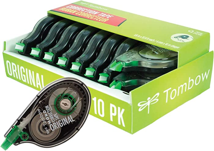 Tombow 68720 MONO Original Correction Tape, 10-Pack. Easy To Use Applicator for Instant Corrections