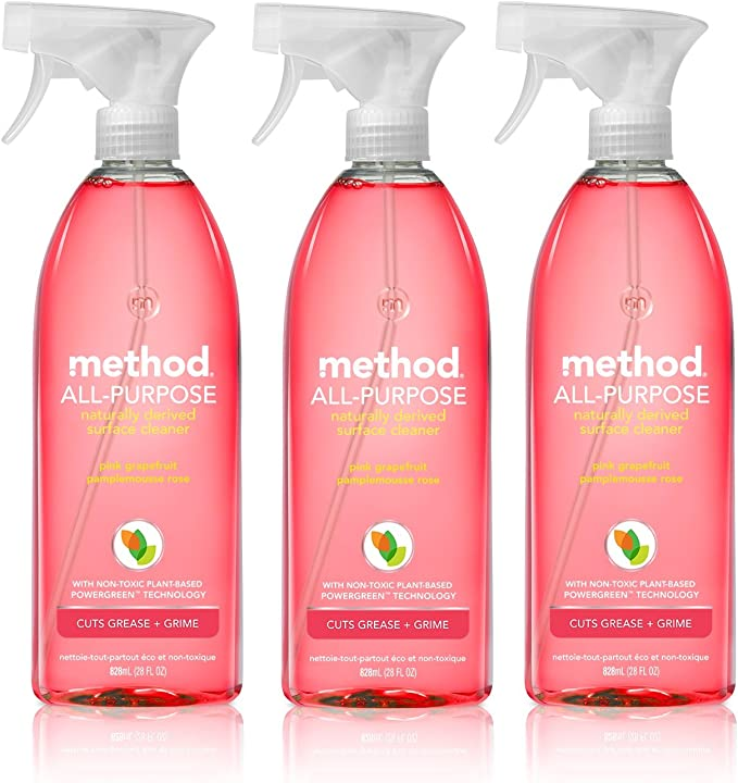 Method All-Purpose Natural Surface Cleaner, Pink Grapefruit, 28 Fl Oz (Pack of 3) best natural kitchen cleaning products
