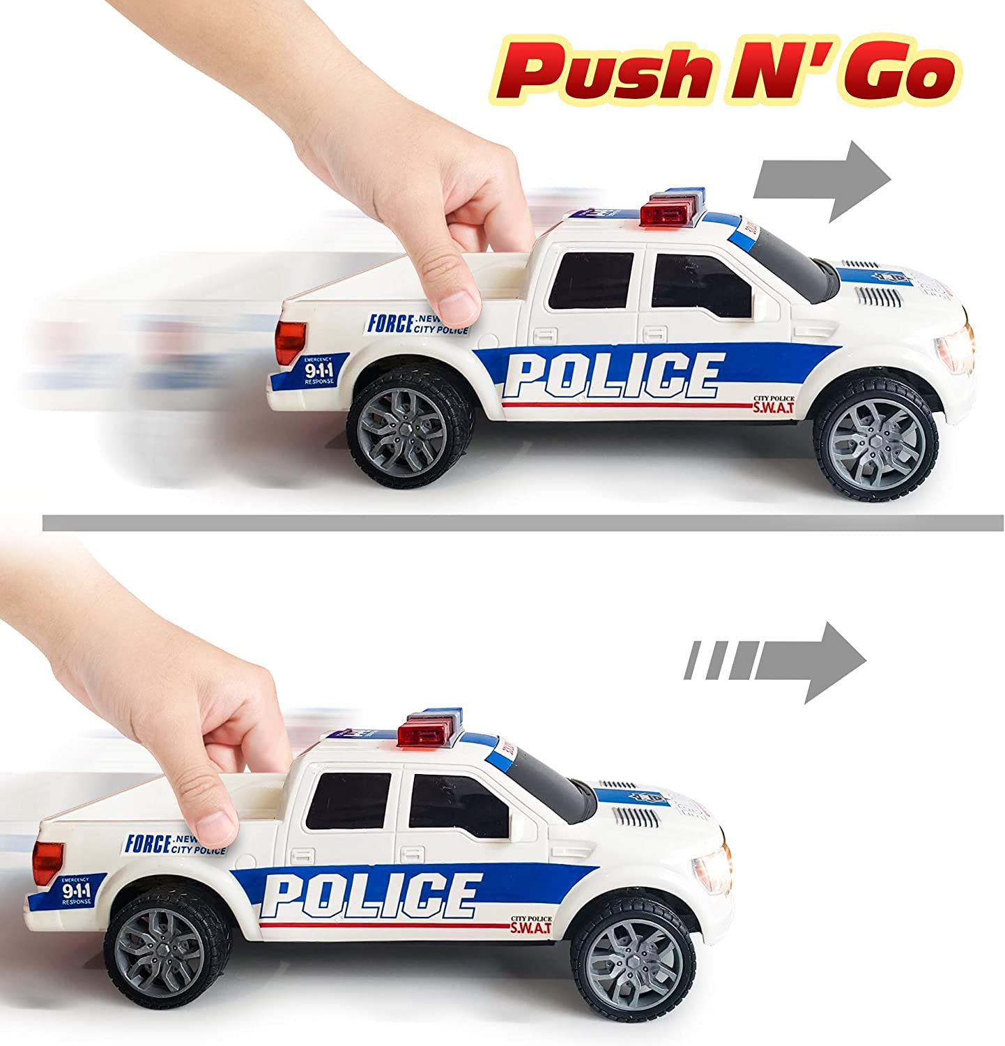 ArtCreativity Police Pickup Truck with LED Headlights and Sirens Toddlers Girls Best Birthday for Boys Pretend Play Toy for Kids Light-Up Push and Go Police Vehicle