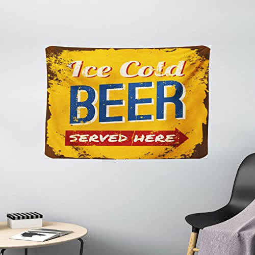 Ambesonne Man Cave Tapestry, Vintage Worn Out Rusty Sign Design with Ice Cold Beer Served Here Beverage Print, Wide Wall Hanging for Bedroom Living Room Dorm, 60 X 40 , Earth Yellow