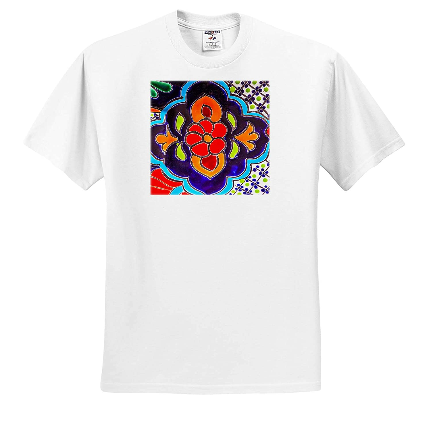 Mexico 3dRose Danita Delimont Decor Adult T-Shirt XL Colorful Ceramic Red Blue Flowers Decoration ts/_314394