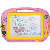 ikidsislands IKS88P [Travel Size] Color Magnetic Drawing Board Kids & Toddlers - Non Toxic Mini Magna Sketch Doodle Educational Toy Girls 1 Pen & 2 Stamps (Pink)