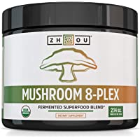 Zhou Nutrition Mushroom 8-plex Organic Mushroom Powder for Brain Power, Immune Support, Energy and Endurance, 2.14 Ounce