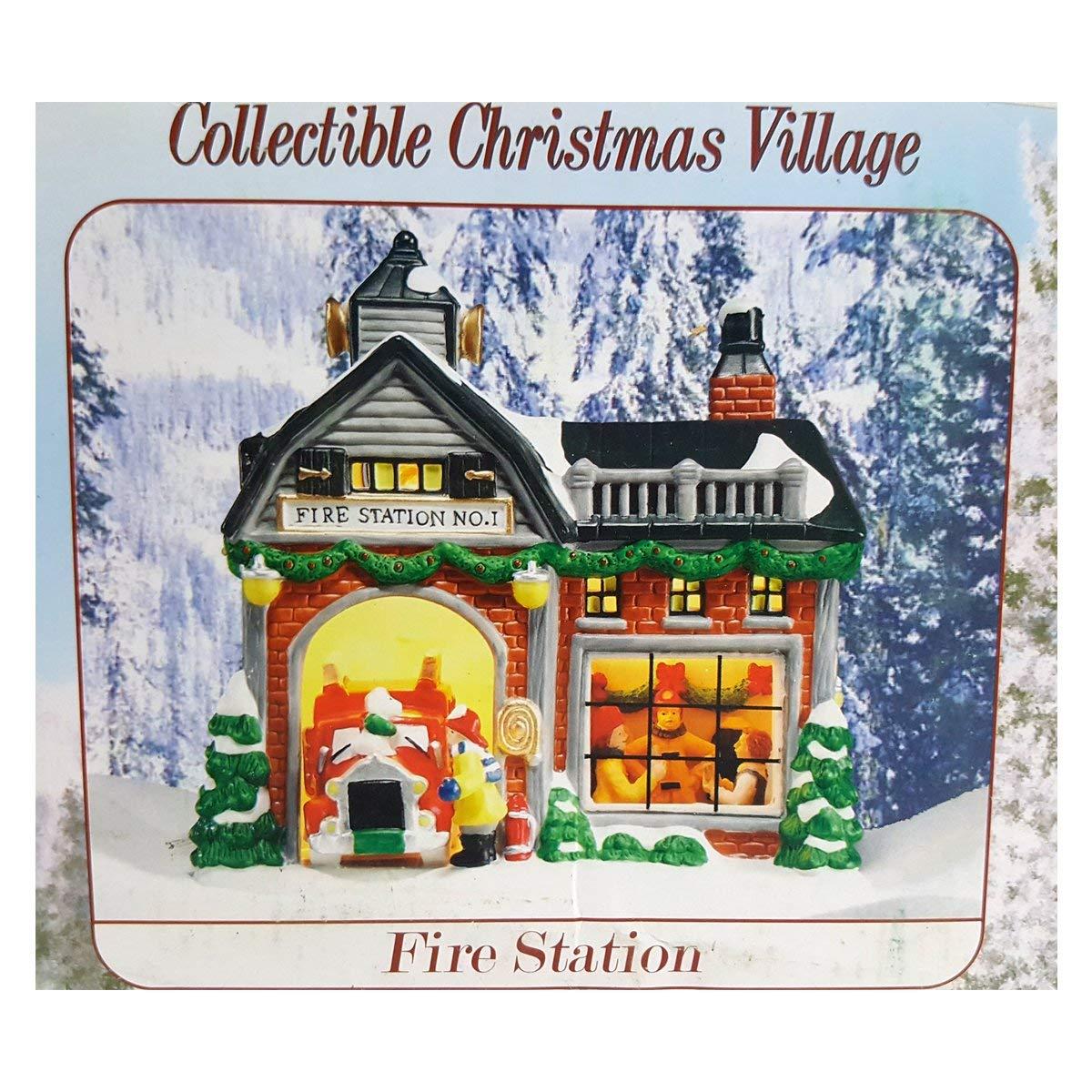 Holiday Creek Village Firestation No. 1'' Porcelain Lighted Building