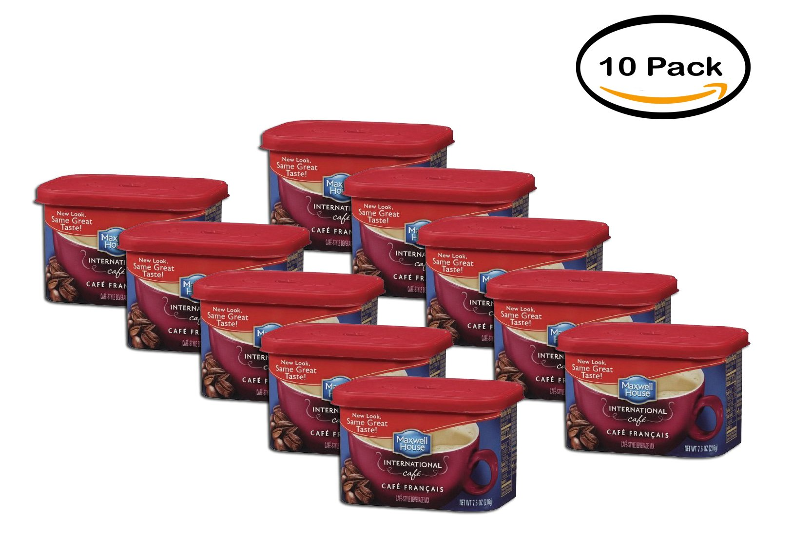 PACK OF 10 - Maxwell House International Cafe Francais Coffee Beverage Mix, 7.6 oz (215 g) by MAXWELL HOUSE