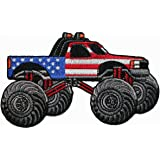 America American US Flag Monster Truck Embroidered Iron On Patch