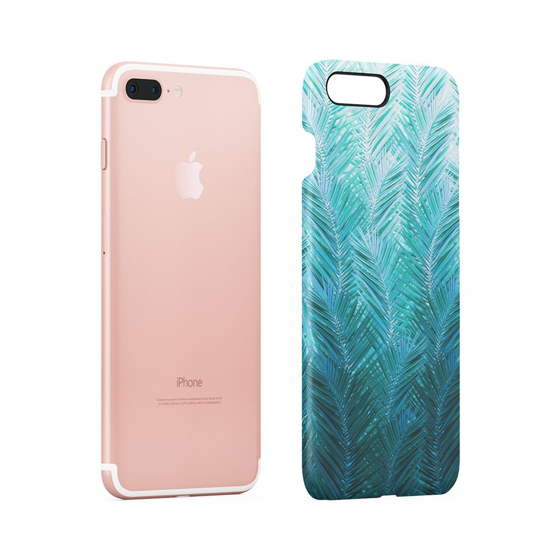 Jade Green Tropical Leaves Ombre Hard Thin Plastic Phone Case Cover For iPhone  7 Plus & iPhone 8 Plus: Amazon.co.uk: Electronics
