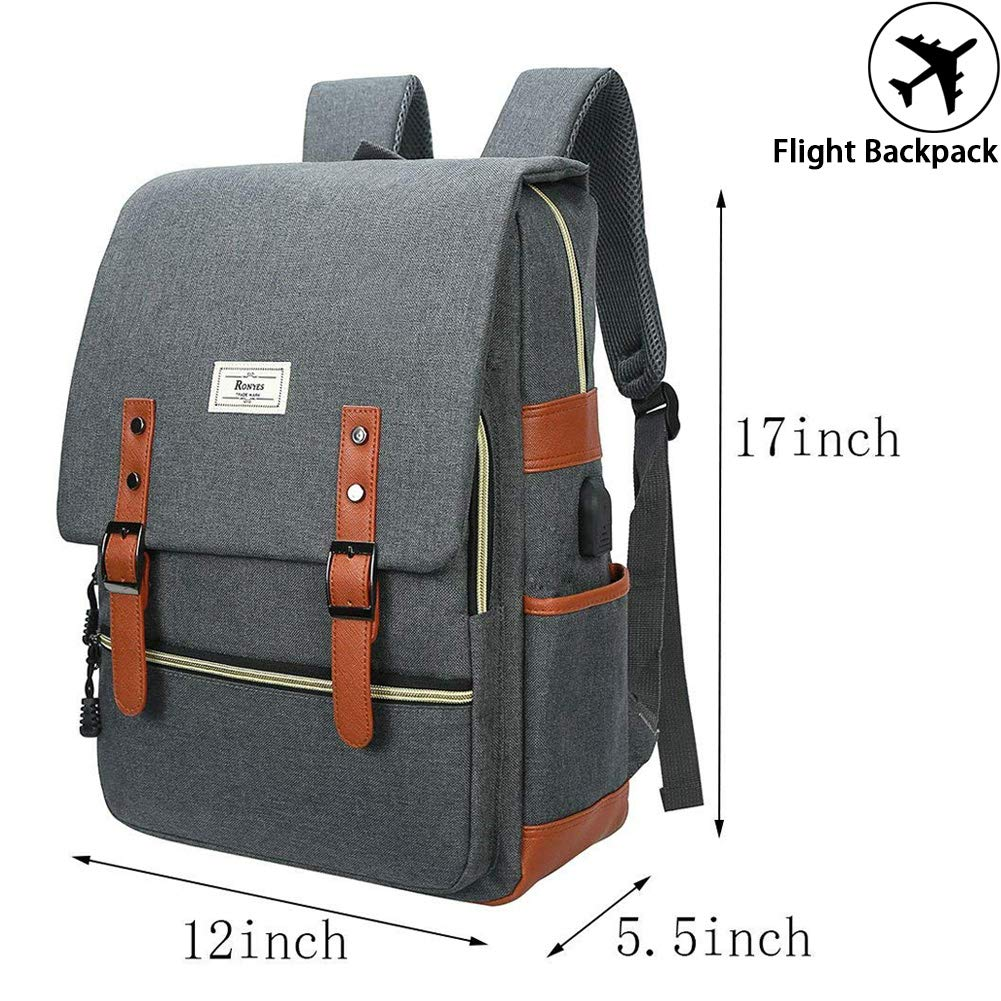 a09b9544e3ef Unisex College Bag Fits up to 15.6   Laptop Casual Rucksack Waterproof  School Backpack Daypacks (Gray)