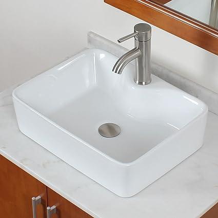 ELITE Bathroom Rectangle White Porcelain Ceramic Vessel Sink U0026 Short  Brushed Nickel Faucet Combo