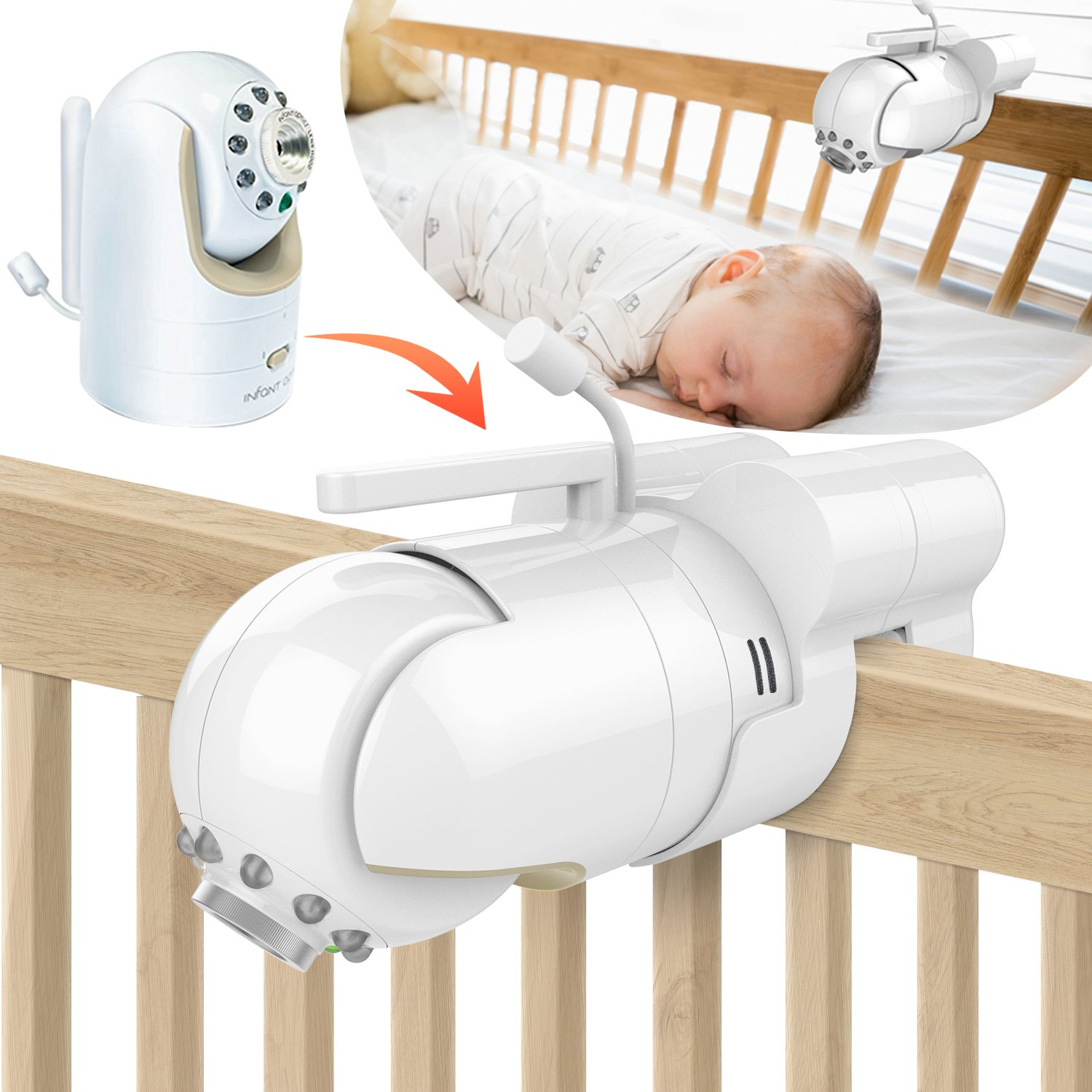 Baby Monitor Mount Bracket for Infant Optics DXR-8 Baby Monitor, Featch Universal Baby Cradle Mount Holder for Infant Optics DXR-8(Infant Optics DXR-8 Not Included.) by Featch