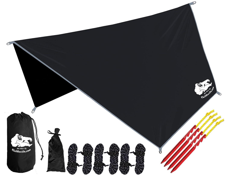 Chill Gorilla 六角ハンモック雨フライテントタープ防水キャンプの避難所。基本的なサバイバルギア。賭け金は含まれています。軽量。セットアップが簡単。リップストップナイロン。色 - コヨーテ砂 B01K7N5KWM 黒 黒