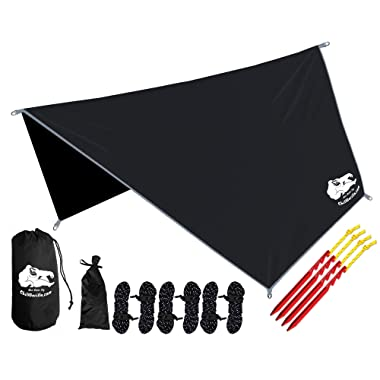 Chill Gorilla Hex Hammock Rain Fly Tent Tarp Waterproof Camping Shelter. Essential Survival Gear. Stakes Included. Lightweight. Easy to Setup. Made from Diamond Ripstop Nylon. Camp Accessories