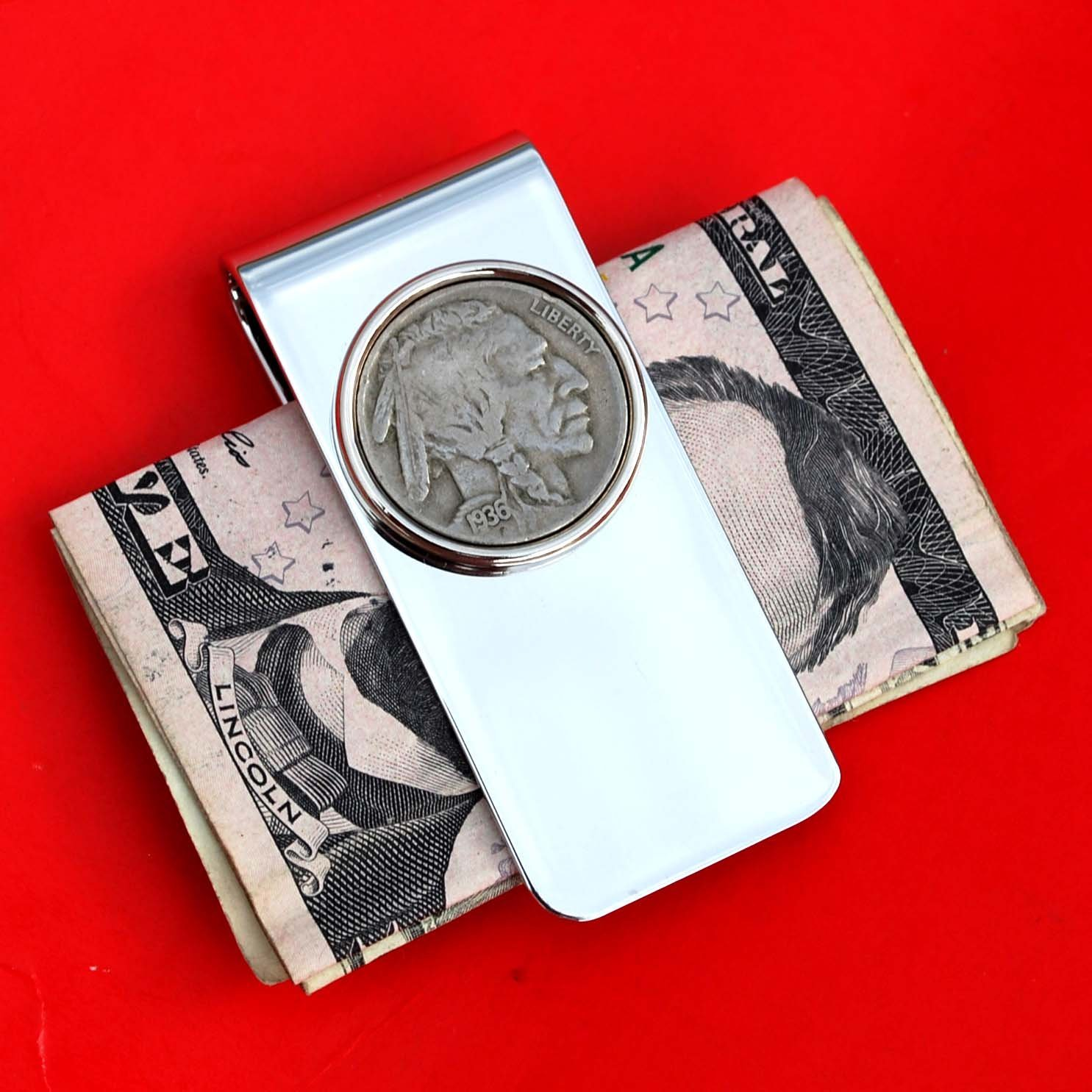 US 1936 Indian Head Buffalo Nickel 5 Cent Coin Solid Brass Silver Plated Money Clip New - High Quality