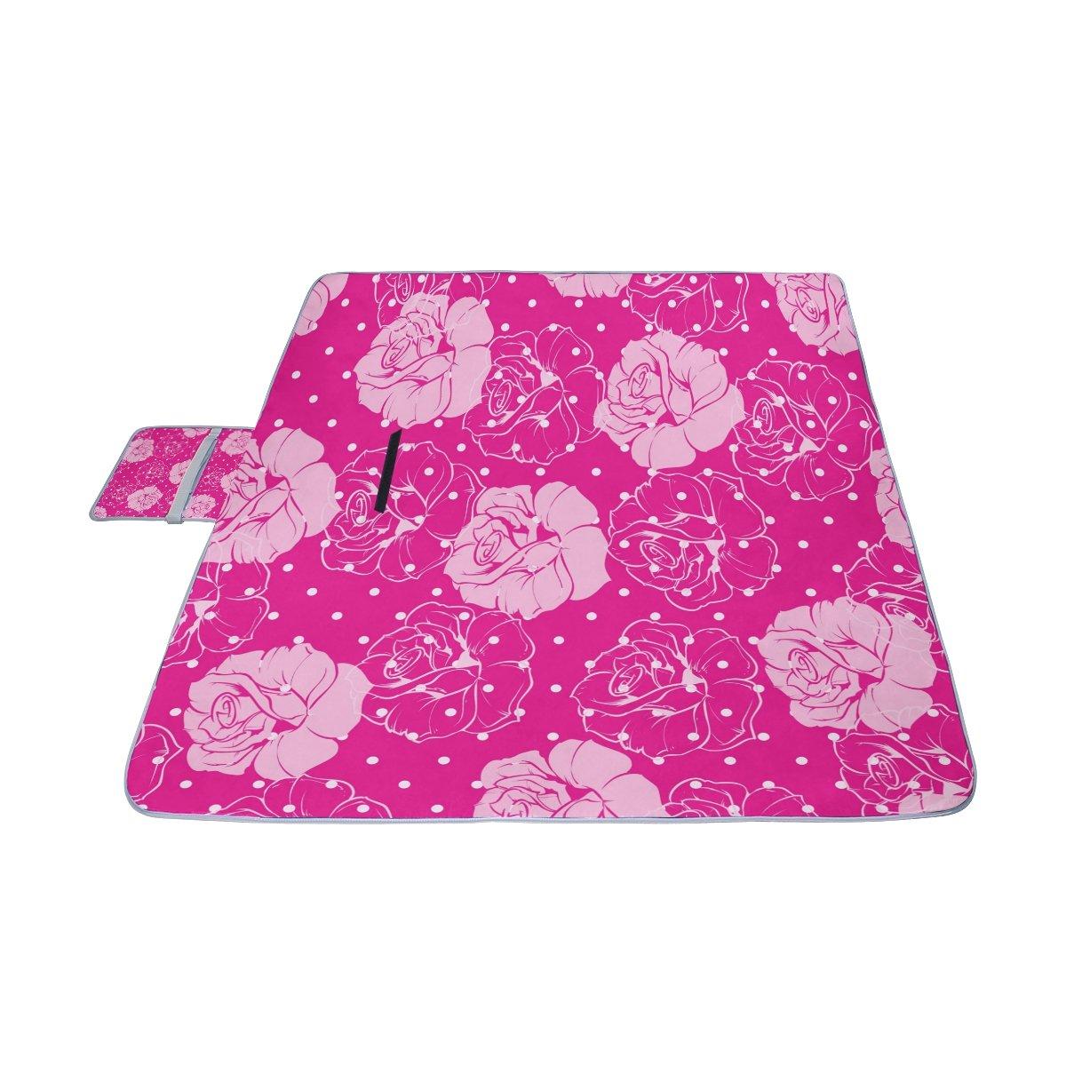 841fd674cea ... COOSUN Manta de picnic con diseño de de de rosas florales, resistente  al moho y ...