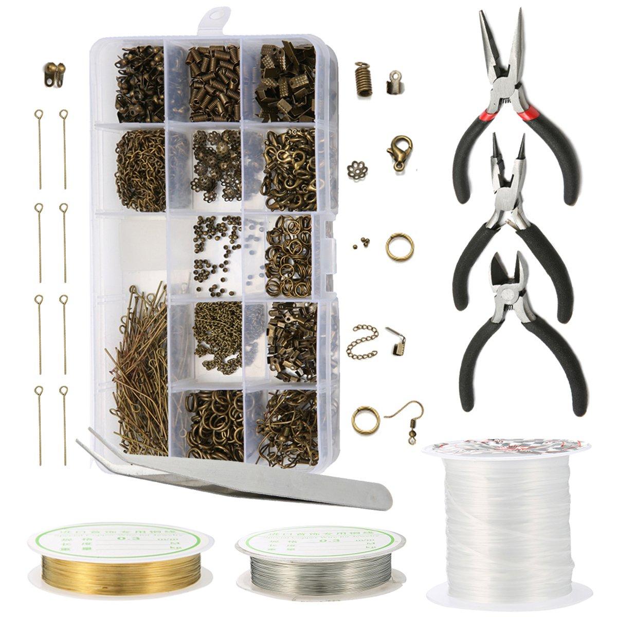 Jeteven 3000 Pcs Jewellery Making Accessories Kit Jewelry Findings Supplies Kit for DIY Handmade Jewellery Making Kit Jewellery Making Kit