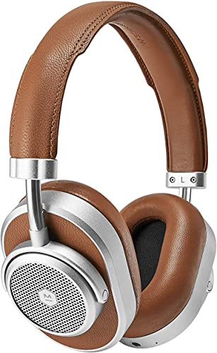 Master Dynamic MW65 Active Noise-Cancelling Anc Wireless Headphones Bluetooth Over-Ear Headphones with Mic, Silver Metal Brown Leather