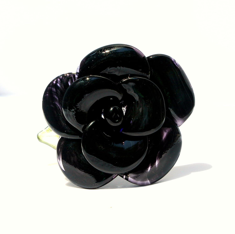 Lampwork Glass Set of 6 Rose Buds Black