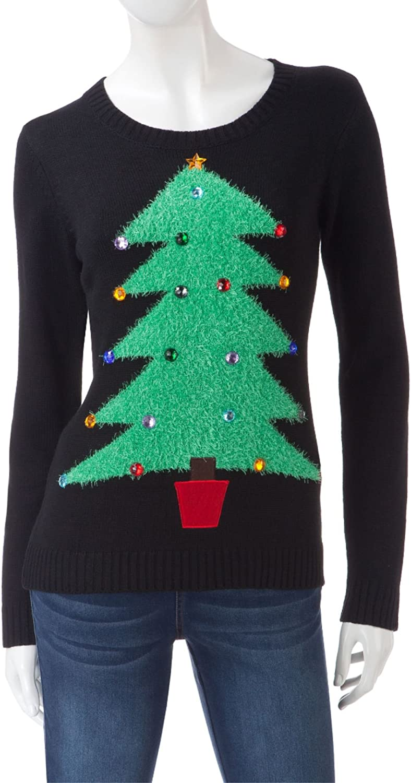 Rebecca Malone Womens HolidayChristmas Tree Sweater Black