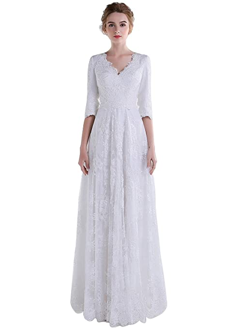 Vintage Tea Dresses, Floral Tea Dresses, Tea Length Dresses  V-Neck Lace Modest Wedding Dress with Sleeves  AT vintagedancer.com