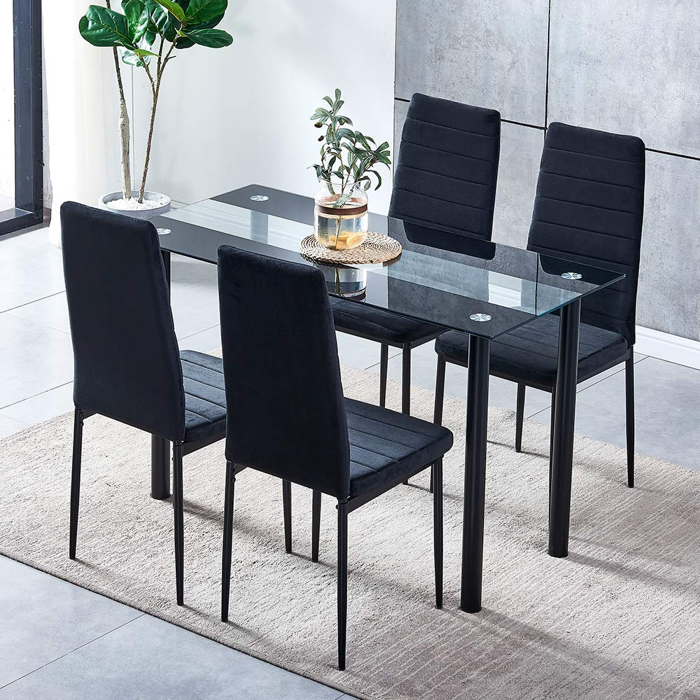 Qihang Uk Dining Table And Chairs Set Kitchen Dining Table Set Tempered Glass Dining Table And Velvet High Back Padded Buy Online In Aruba At Desertcart Productid 205518173