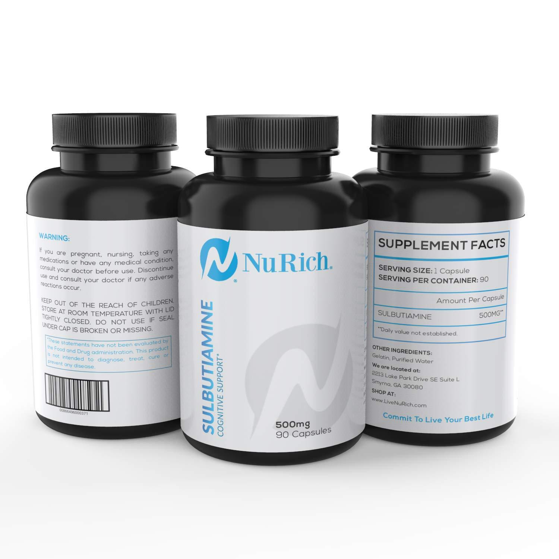 Sulbutiamine 500 mg | Nootropics | Nootropic Motivation Pills | 90 Capsules | NuRich | Thiamine