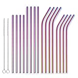 Berglander Reusable Titanium Plated Stainless Steel Colorful Drinking Straws Straight and Bent Metal Straws with Brushes for Milkshakes, Frozen Drinks, Smoothies, Bubble Tea, Set of 18 (Color: 6. Colorful, Tamaño: Colorful)