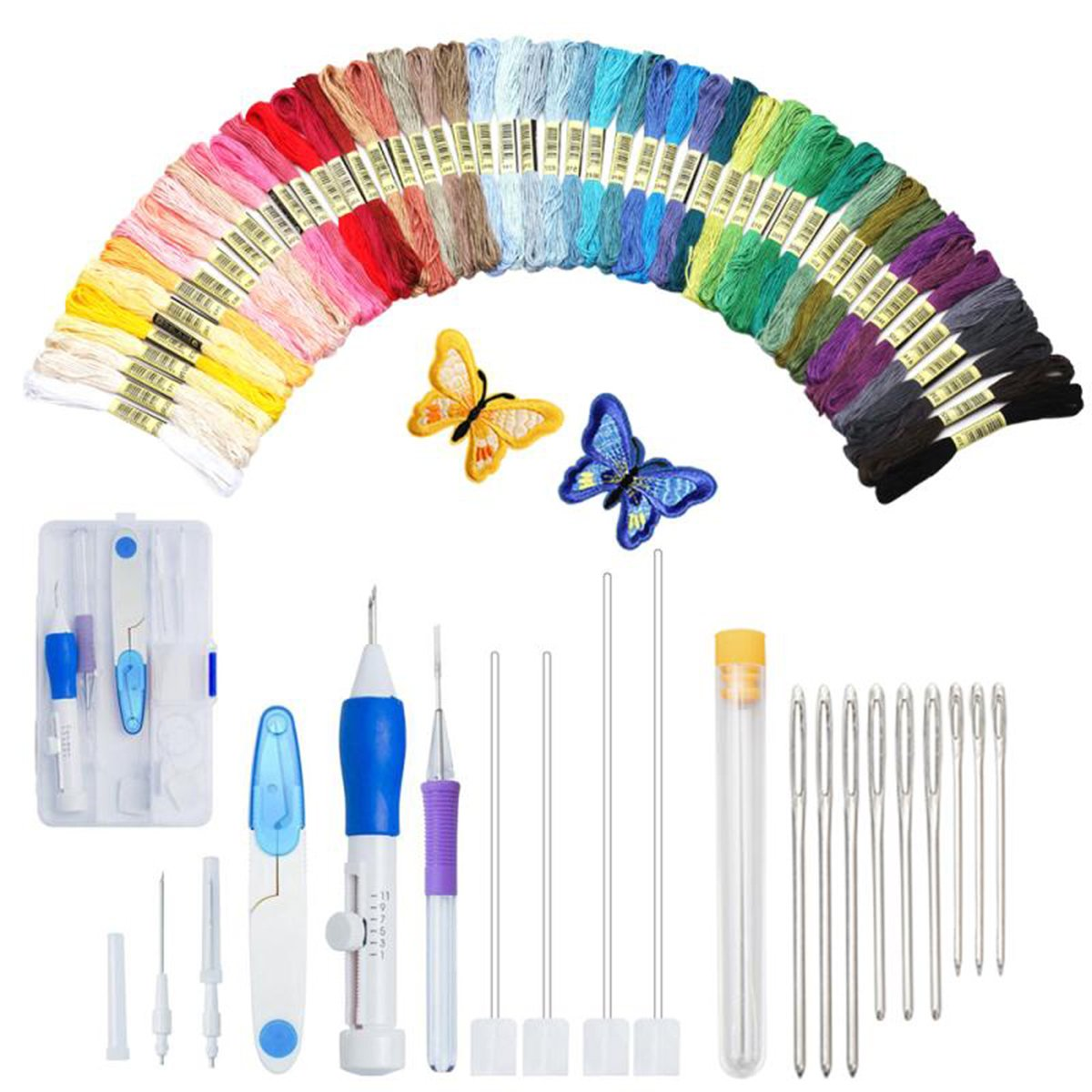 Magic Embroidery Pen Kit, Embroidery Pen Punch Needle Craft Tool Including 50 Color Threads and 9 Pieces Large-Eye Blunt Needles for Embroidery Threaders Unihubys