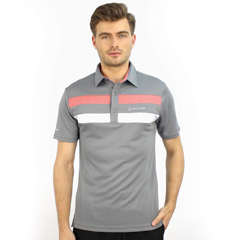 SAVALINO Mens Bowling Polo Shirts Material Wicks Sweat /& Dries Fast