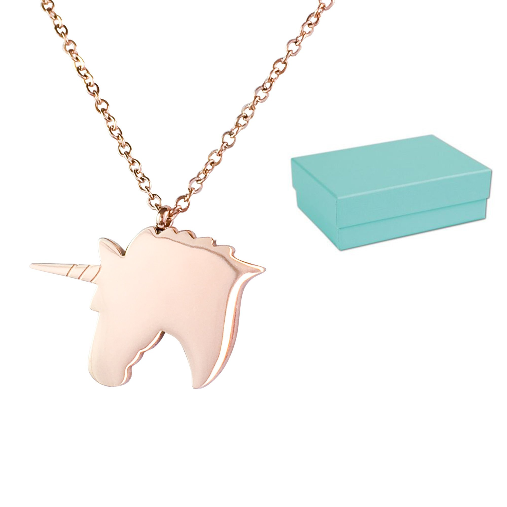 Blu Lily Unicorn Necklace for Girls, Women, Kids, Rose Gold Plated Stainless Steel w/Gift Box (Rose Gold)