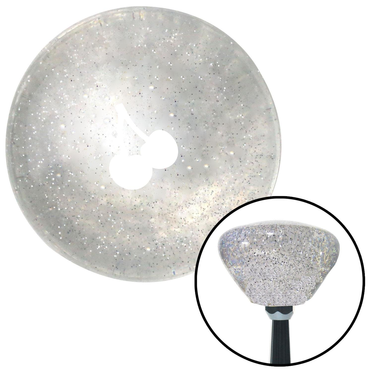 White Cherries Silhouette Clear Retro Metal Flake with M16 x 1.5 Insert American Shifter 285746 Shift Knob