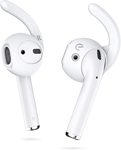 EarBuddyz 2.0 Ear Hooks and Covers Accessories Compatible with Apple AirPods 1 & AirPods 2 or EarPods Headphones/ Earphones/ Earbuds (3 Pairs) (Clear)