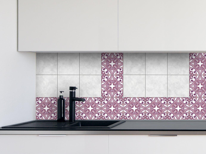 Autocollants de carreaux de cuisine Rose Patterns Film de vinyle pour des idé es de tuile de mur de salle de bains de diffé rentes tailles - 16pcs Art Applique