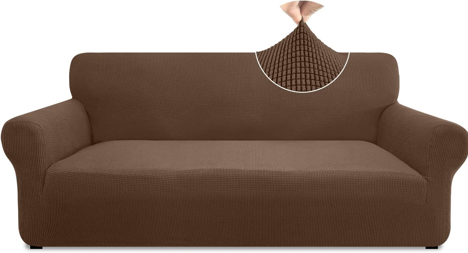 Pitpet Super Stretch Sofa Slipcover 1 Piece Stylish Couch Cover for 3 Cushion Couch Non Slip Sofa Cover Furniture Protector with Elastic Band (Large, Coffee)