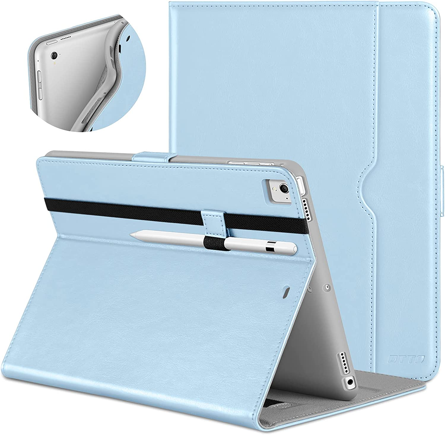 DTTO New iPad 9.7 Inch 5th/6th Generation 2018/2017 Case with Apple Pencil Holder, Premium Leather Folio Stand Cover Case for Apple iPad 9.7 inch, Also Fit iPad Pro 9.7/Air 2/Air - Ice Blue