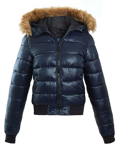 ee41802b3 shelikes Womens Girls Puffer Faux Fur Hood Quilted School Office Jacket  Winter Coat