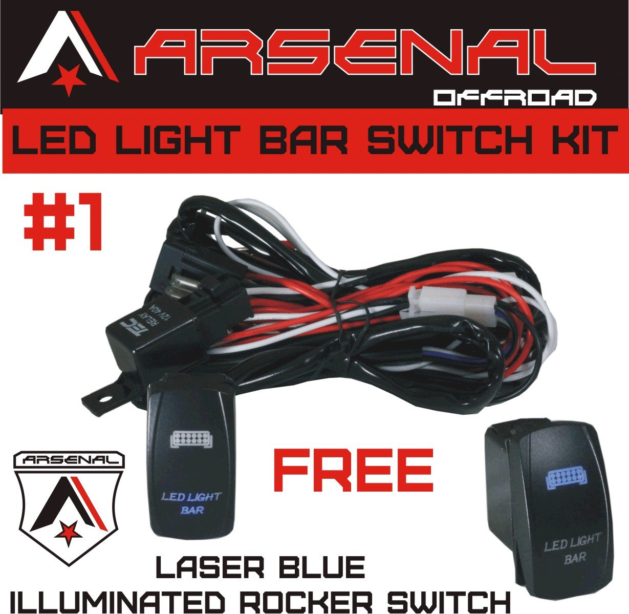 1 Heavy Duty Rocker Switch Wire Harness By Arsenal 3 Prong Wiring Diagram Offroad 40 Amp Relay Laser Blue Led 17ft Of 14g Utv Suv Off Road Boats