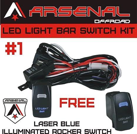 #1 heavy duty rocker switch wire harness by arsenal offroad 40 amp relay  laser blue