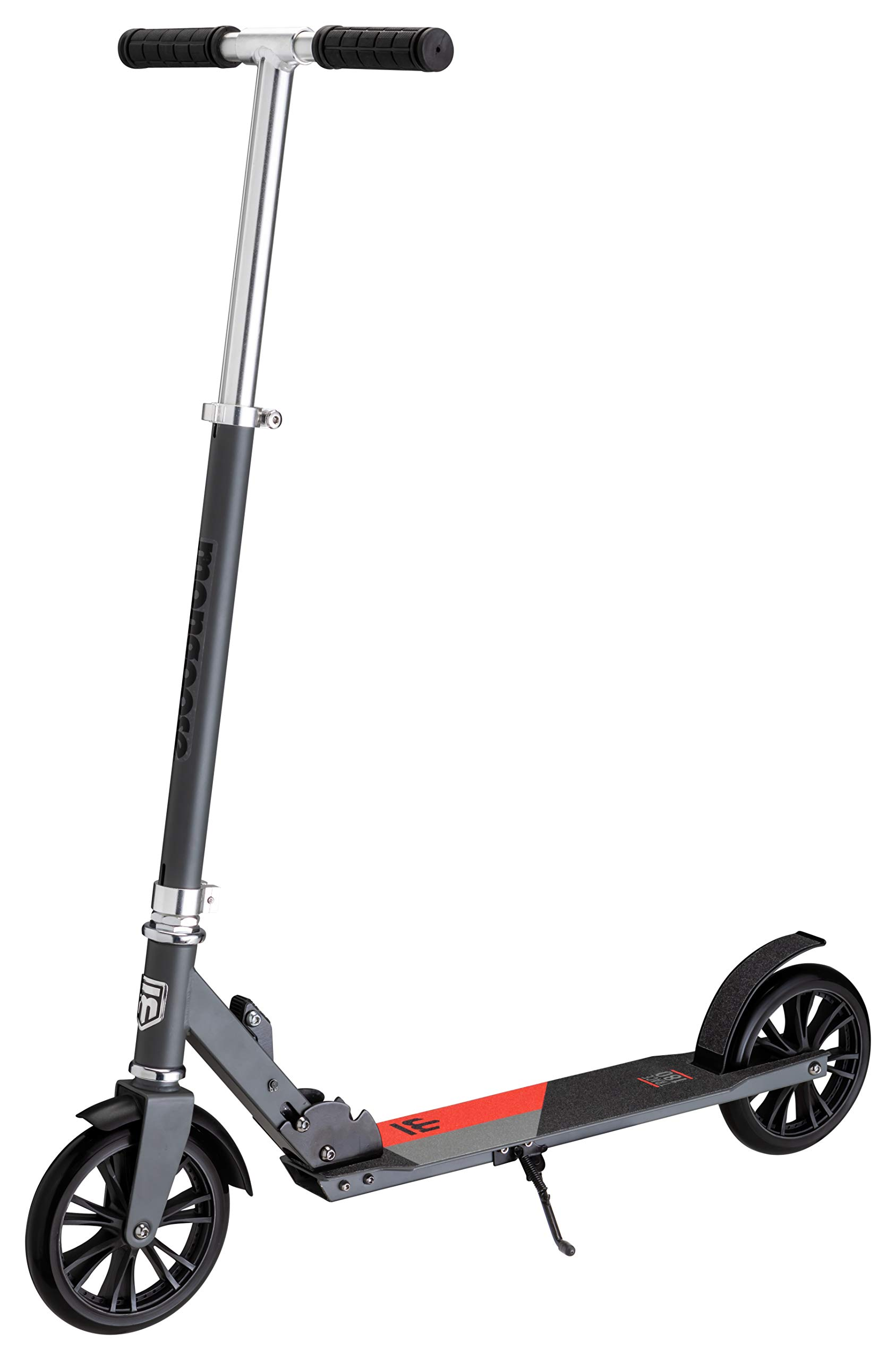 Mongoose Trace 180 Foldable Kick Scooter, Featuring Quick-Release Adjustable Height Handlebars with 180mm Wheels, Grey/Red